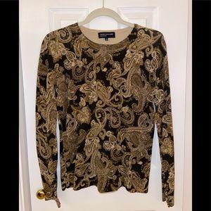 Jones New York Paisley Black and Gold Sweater